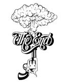 Vector handwritten lettering ` The end` made in vintage style. Hand drawn illustration of explosion and gun. Tattoo artwork.  Template for card, banner, print Royalty Free Stock Photos