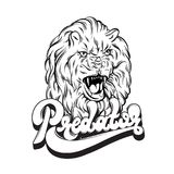 Vector handwritten lettering. Hand drawn illustration of lion. Portrait of growling animal.  Template for card, poster, banner, print for t-shirt Royalty Free Stock Photography