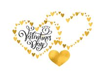 Vector handwritten lettering Happy Valentines Day. Empty shape for name text. Valentines Day hearts golden foil pattern vector illustration