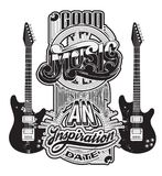 Vector handwritten lettering made in 90`s style with guitars. Template for card, poster, banner, label,  print for t-shirt Stock Image