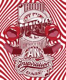 Vector handwritten lettering made in 90`s style with surreal illustration of gramophone with human mouth. Template for card, poster, banner, label,  print for Royalty Free Stock Photos