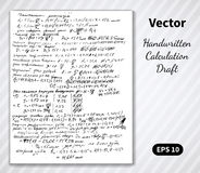 Vector handwritten pages of draft calculations Stock Photo