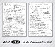 Vector handwritten pages of draft calculations.  Royalty Free Stock Photos