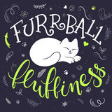 Vector handwritten phrase - furrball of fluffiness with cat curled up - with decorative elements - heart shapes, arrows and brunch Royalty Free Stock Photos