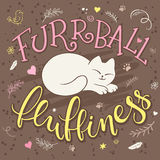 Vector handwritten phrase - furrball of fluffiness with cat curled up - with decorative elements - heart shapes, arrows and brunch Stock Photography