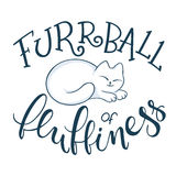 Vector handwritten phrase - furrball of fluffiness with cat curled up. Funny lettering poster or card design Royalty Free Stock Photos