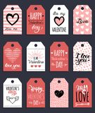 Vector handwritten phrases Love Is In The Year etc.on labels,tags.February 14 calligraphy set. Valentines day typography. Vector hand lettering phrases You Are Stock Photos