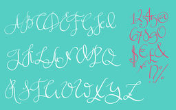 Vector handwritten pointed ink pen font Stock Photography