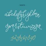 Vector handwritten pointed pen font Stock Photos