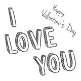 Vector handwritten valentine greeting Royalty Free Stock Photography