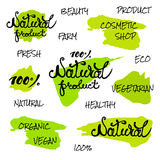 Vector handwritten words. Natural product, eco, organic, fresh,natural. Green strokes decorative .  on white background il. Lustration eps10 Royalty Free Stock Images