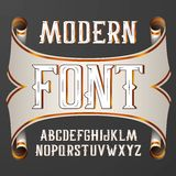 Vector handy crafted modern label font. On dark background Stock Image