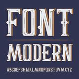Vector handy crafted modern label font. On dark background.  Royalty Free Stock Photos