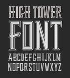 Vector handy crafted vintage label font. High tower Royalty Free Stock Photography