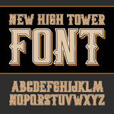 Vector handy crafted vintage label font. High tower Stock Illustration
