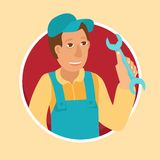 Vector handyman in flat style Stock Photography