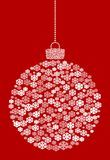 Vector hanging abstract Christmas ball consisting of snowflake icons on red background. royalty free illustration