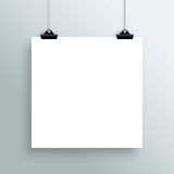 Vector Hanging Blank White Square Poster From Clips Royalty Free Stock Image