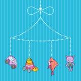 Vector hanging hand drawn kid toys stock illustration