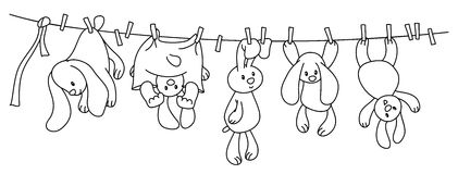 Vector hanging rabbits. Stock Image