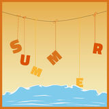 Vector hanging summer. With sea - illustration Royalty Free Stock Image