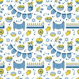Hanukkah seamless pattern. Vector Hanukkah seamless pattern with menorah, candles, donuts, garland, bow, cupcake, gifts, candles, dreidel, confetti, coins oil Royalty Free Stock Photo