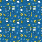 Hanukkah seamless pattern. Vector Hanukkah seamless pattern with menorah, candles, donuts, garland, bow, cupcake, gifts, candles, dreidel, confetti, coins oil Stock Image