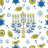 Hanukkah seamless pattern. Vector Hanukkah seamless pattern with menorah, candles, donuts, garland, bow, cupcake, gifts, candles, dreidel, confetti, coins oil Royalty Free Stock Photography