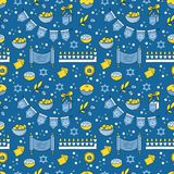 Hanukkah seamless pattern. Vector Hanukkah seamless pattern with menorah, candles, donuts, garland, bow, cupcake, gifts, candles, dreidel, confetti, coins oil Stock Photo
