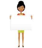 Vector -Happy African American business woman holding sign or banner isolated on white background. Vector. Royalty Free Stock Images