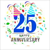 Vector happy anniversary. Vector image anniversary with ornament colorfull Royalty Free Stock Images