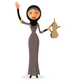 Vector - Happy arab woman holding an Arabic coffee pot and waving her hand isolate on white background. Royalty Free Stock Photography