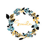Vector happy background with hand drawn leaf wreath and yellow word smile Stock Photography