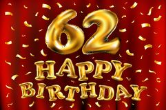 Vector happy birthday 62th celebration gold balloons and golden confetti glitters. 3d Illustration design for your greeting card, Stock Images