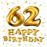 Vector happy birthday 62th celebration gold balloons and golden confetti glitters. 3d Illustration design for your greeting card, Stock Photo