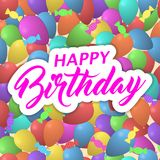 Vector happy birthday background with colorful balloons, candy and lettering. Stock Photos