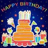 Vector happy birthday background. Greeting card Stock Image