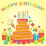 Vector happy birthday background. Greeting card Stock Photos