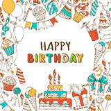 Vector Happy Birthday background. Hand-drawn Birthday sweets, party blowouts, party hats, gift boxes and bows, garlands and balloons, music notes and firework Stock Image
