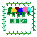 Vector happy birthday background. Vector image happy birthday background with plant ornament Royalty Free Stock Photography