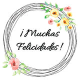 Vector happy birthday banner with text congratulate title in Spanish. Floral frame. Royalty Free Stock Photography