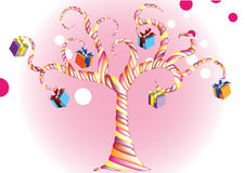 Vector happy birthday candy tree with a colorful g. Vector happy birthday imagine candy tree with a colorful gift rose white background Stock Illustration