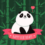 Vector Happy Birthday card and background with cartoon cute panda stock illustration