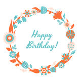 Vector Happy Birthday card and background with floral frame Stock Images