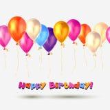 Vector Happy Birthday card. Balloons Stock Photos