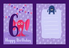 Vector happy birthday card with cute cartoon monsters, garlands and age six number royalty free illustration