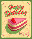 Vector happy birthday card. Birthday cake. Vector Illustration Stock Photography