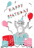 Vector happy birthday card cartoon cat. Vector happy birthday card . Birthday greeting card. The cartoon cat sits on a gifts. Against the background fly balloons Royalty Free Stock Photos