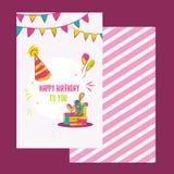 Vector happy birthday card. Colorful happy birthday design can be used for happy birthday banners, promo, happy birthday Stock Image