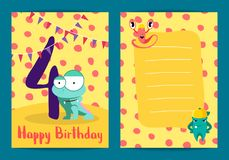 Vector happy birthday card with cute cartoon monsters and age four number Royalty Free Stock Photo